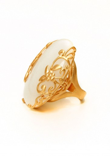 Glow  ring with floral rose gold setting