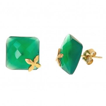 Green onyx floral post earrings