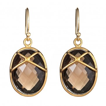 Smokey topaz criss cross drops