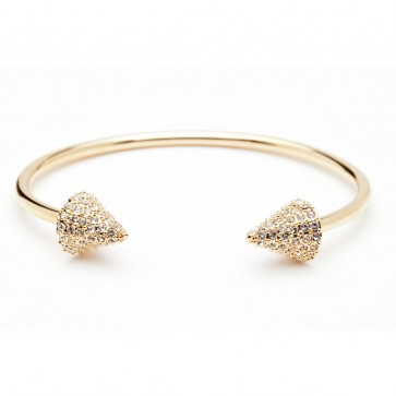 Double header spike pave bracelet