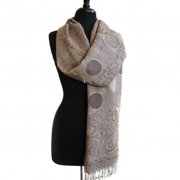 Champaign beaded paisley jacquard scarf