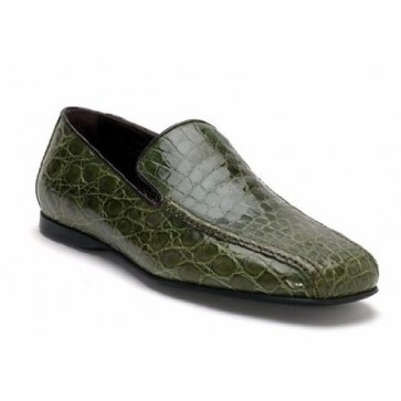 Green croc embossed leather loafers