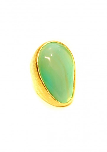 Blue-green agate large oval ring