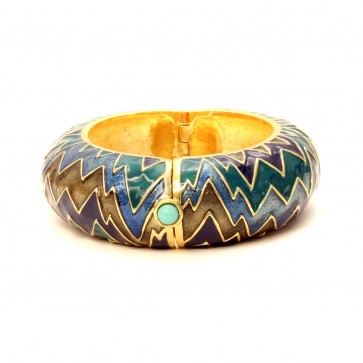 Zig Zag enamel stone bangle