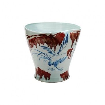 Vibrant floral vase with exotic birds