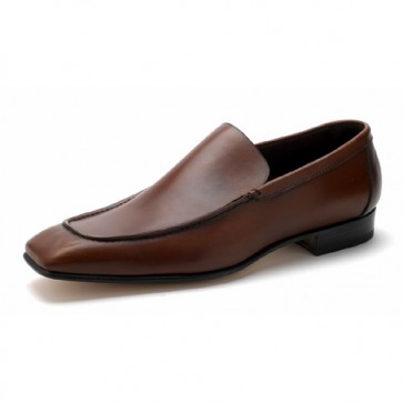 Brown  calfskin leather loafer with stacked heel