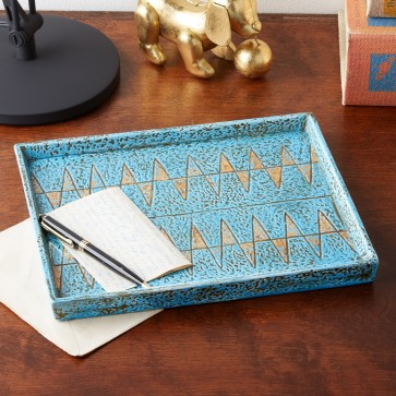 Turquoise /Gold Corcovado Decorative Tray - Ceramic