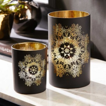 Lace Pattern Print Hurricane Candleholders