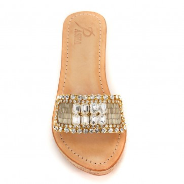 Lembata Crystal Gold Wedge Sandal
