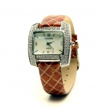 Crystal paved cushion shape watch with camel python strap