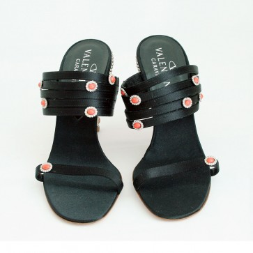 Crystalized coral sandals - Black