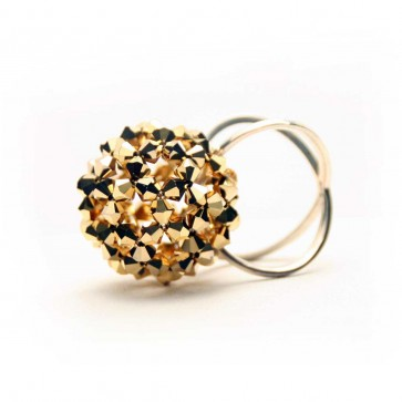 Gold Swarovski crystal mod ball ring