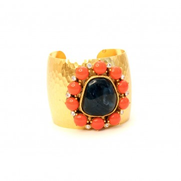 Coral and sapphire hammered cuff