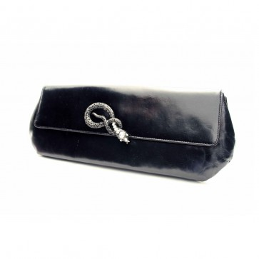 Black serpent leather clutch bag