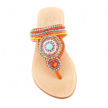 'Poro' Embroidered Leather Sandals