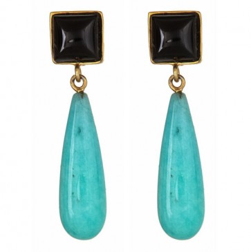 Black onyx and Amazonite drops