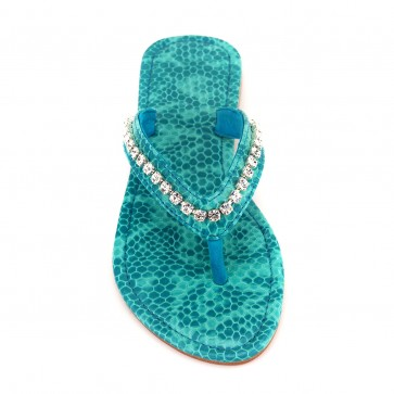 'Tjorn' Embellished snake-effect leather sandals Turquoise