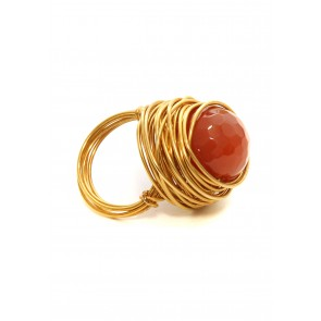 Cranberry opal stone ring