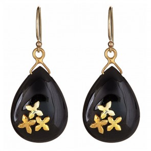 Black onyx with gold floral drops