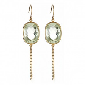 Pale green amethyst chain drops