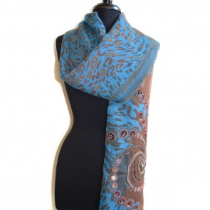 Turquoise and Brown Waterfall Wool Scarf