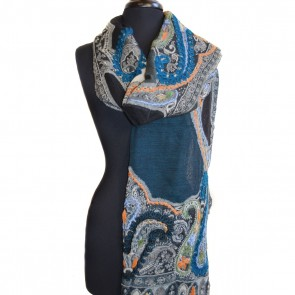 Deep blue sea wool scarf
