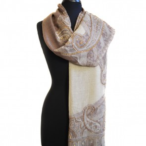 1905 Champaign Beaded Paisley Jacquard Scarf