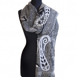 1915 Beaded Paisley Wool Scarf
