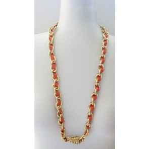 Orange leather strand necklace