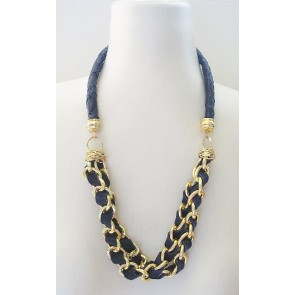 Midnight blue leather necklace with gold chain