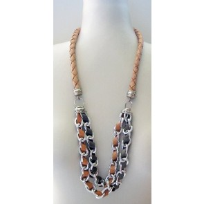 Caramel leather necklace with silver hardware