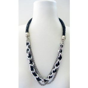 Black leather single stand chain necklace