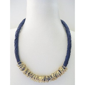 Blue leather rope necklace with gold ringlets
