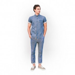 Blue denim rolled sleeve  linen shirt