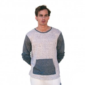 Oatmeal colorblock crew neck linen shirt