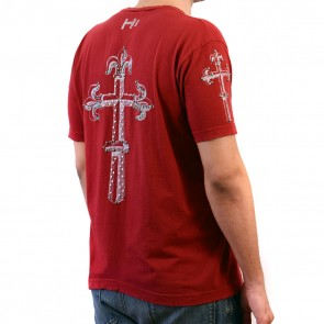 Cranberry red rhinestone T-shirt