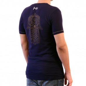 Navy T-shirt with Hamza graphic
