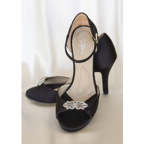 Astoria Hi Black Crystal Brooch High Heels