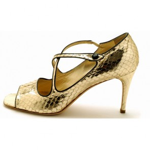 Platinum gold high heel python sandals
