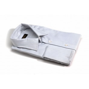 White/blue stripe shirt w/ french cuffs