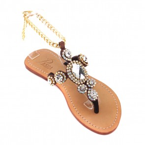 'Corinth' Crystal Embellished Leather Sandals - Bronze
