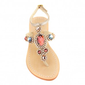 Rainbow Gemstone 'Corinth' Leather Sandals