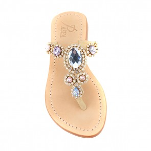 Rose Blue Gold 'Corinth' Leather Sandals