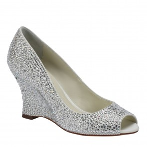 'Emma' Crystal & Suede Peep Toe Wedge
