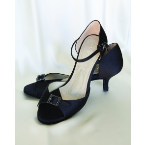 Eternity Low Black Silk Pumps with Black Crystal Buckles-