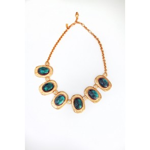 Emerald Cabochons and Crystal Stations Necklace