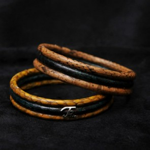 Faux Snake Print Wood Bangle