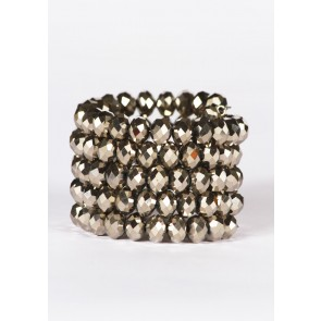 Jet faceted coil bracelet