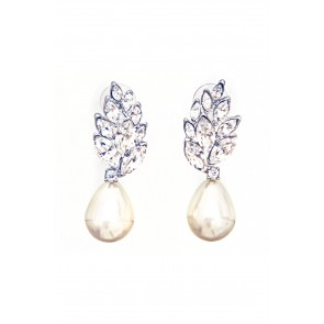 Pearl drop earrings with crystal cluster top