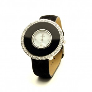 Large crystal face suede leather watch